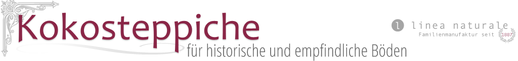 Kokosteppiche Logo, linea naturale, Familienmanufaktur seit 1887, Teppiche für historische und empfindliche Böden